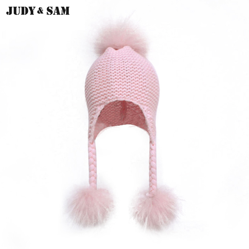 New Fashion JSFUR Brand Real Raccoon Fur Pom Poms Wool Blend Hat Cap For Girls Unique Fur Bobble Kids Beanie the new children s cubs hat qiu dong with cartoon animals knitting wool cap and pile