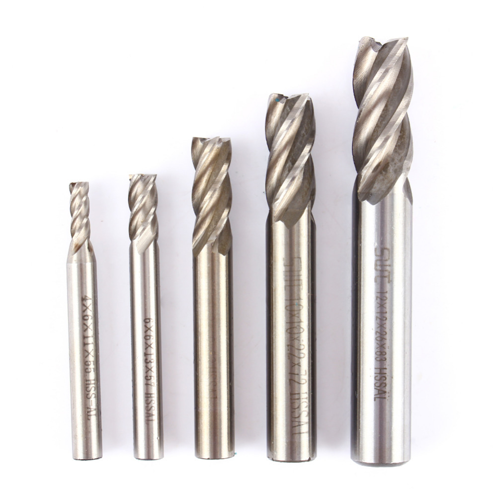 5pcs 4-Flute End Mill Bits HSS CNC Shank Drill Bits Cutter For Aluminum Steel