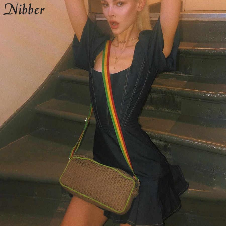 Nibber модные ретро джинсовые мини плиссированные платья женские 2019 летние вечерние элегантные облегающие обтягивающие короткие платья mujer