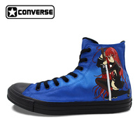 Anime Shoes Woman Man Converse All Star Shakugan No Shana Design Custom Hand Painted Shoes High Top Boys Girls CosPlay Sneakers