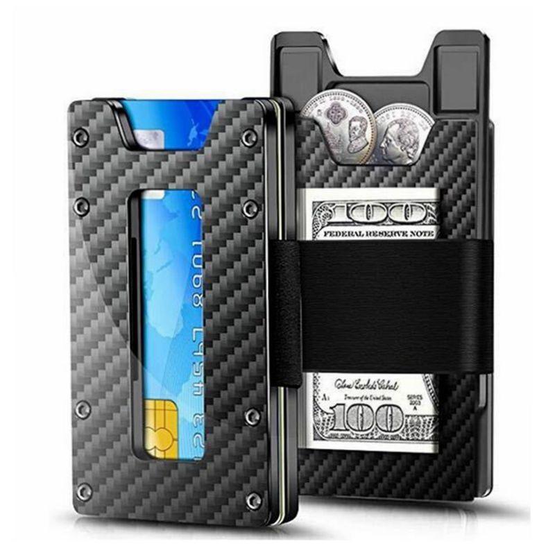2019 New Minimalist Carbon Fiber Metal Slim Wallet For Men And Women Slim Front Pocket Wallets Credit Card Holders RFID Blocking
