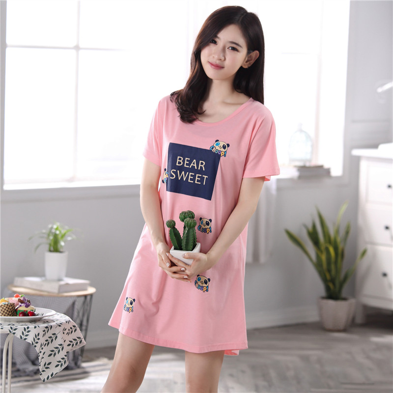 Free shipping Fashion Women Cotton   Nightgowns     Sleepshirts   Summer Home Dress Sleepwear Loose Nightdress Indoor Clothing M-3XL