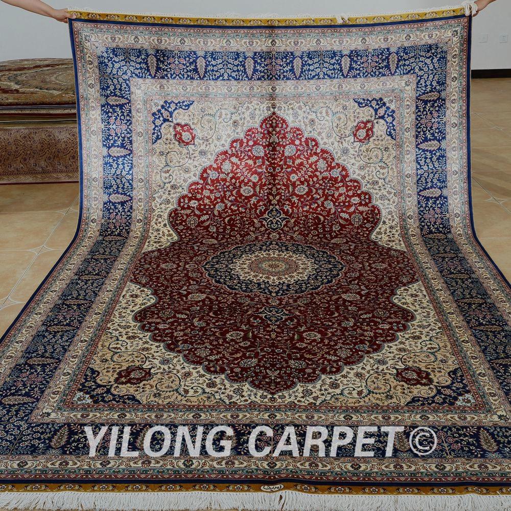 Yilong 6,56'x9,84 'turecký designový koberec červený orientální umělé hedvábné koberce (1124)