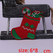 2016year New arrival 1PC  Christmas gift socks Iron On Embroidered Patch For Cloth Cartoon Badge Garment Appliques DIY Accessory