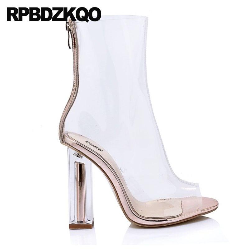 Chaussures Grand Haute Pvc Toe Designer Femme Dames Métal Cheville Transparent 10 Talon Sexy Chaussons 5cm transparent Effacer Peep 6 En 10cm Taille Mode Bottes Chunky ZqHtwv