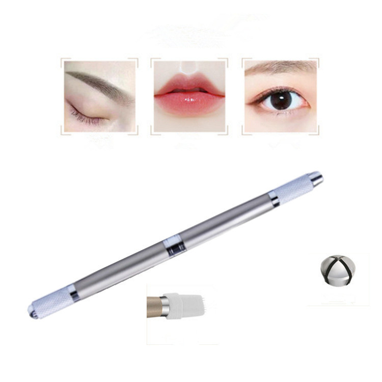 Manual Dual Head Permanent Eyebrow Tattoo Pen Zinc Alloy Embroidered Eyebrow Makeup Tattooing Machine Microblading Pen Pencil