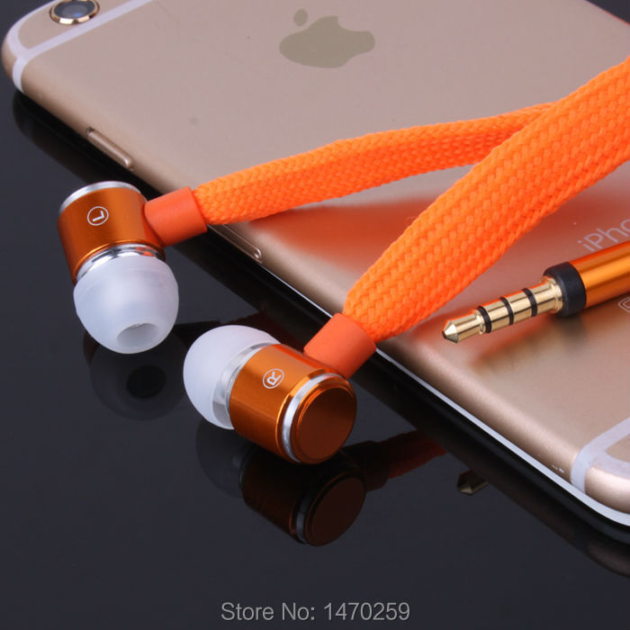 High Quality Stereo Headset In Ear Metal Shoelace Earphone handsfree Headphones with Mic 3.5mm Earbuds  for All Phone MP3 Player