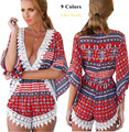 2017 sexy Europe plus size summer women jumpsuits print linen modal loose rompers lace short pants long sleeve deep v neck hot