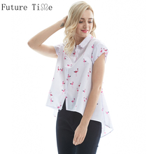 Future Time Flamingo Top Women Summer 2017 Blouses Pink Print Irregular Shirts Female Turn Collar Short Sleeve Blouse SC233
