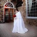 2016 marfim branco com capuz casaco de inverno da pele do falso envoltório de casamento capa capa de pele Boleros para casamento