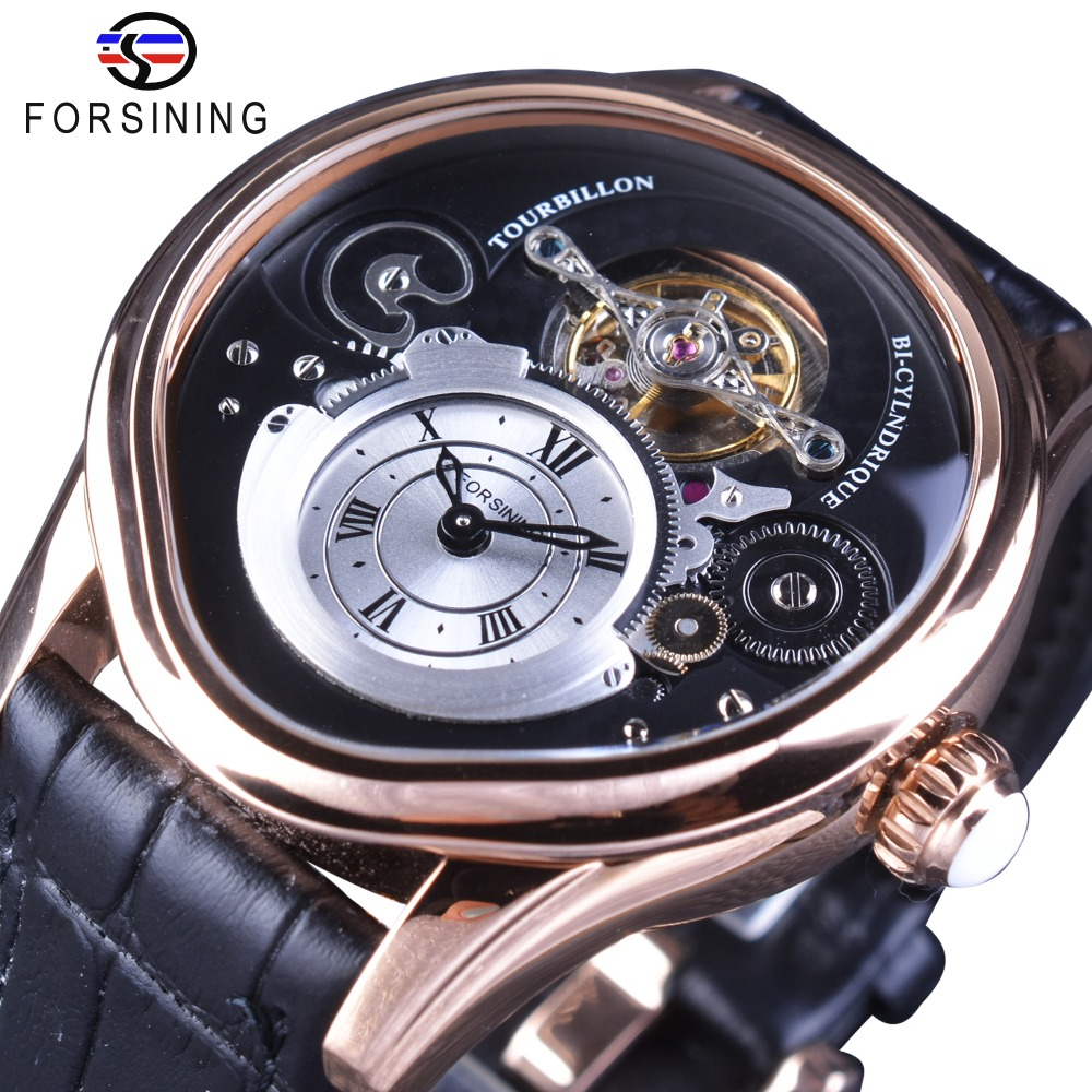 Forsining Rose Gold Tourbillion Design 316 Full Stainless Steel Case Genuine Leather Belt Men Automatic Watches Top Brand Luxury forsining トゥール ビヨン