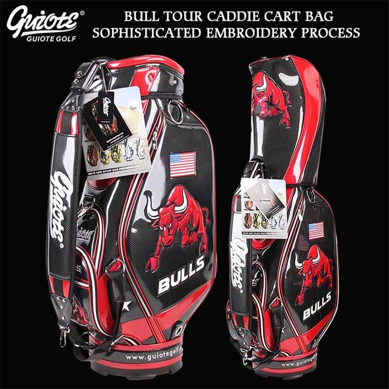 USA BULLS Golf Caddie Cart Bag PU Leather Standard Golf Tour Staff Bag With Rain Hood 5-way For Men Women