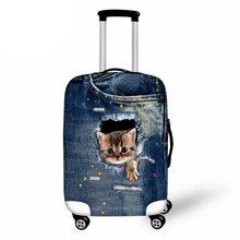 Blue Denim Travel Luggage Suitcase Protective Cover Kawaii Cat 3D Printed Elastic Luggage Cover for Trolley Suitcase(China)