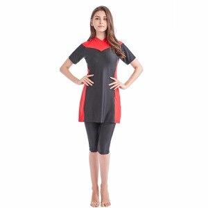 Image 4 - new 2018 new  summer stitching style of the Muslim swimsuit short sleeved islamic swimsuit islamic clothing