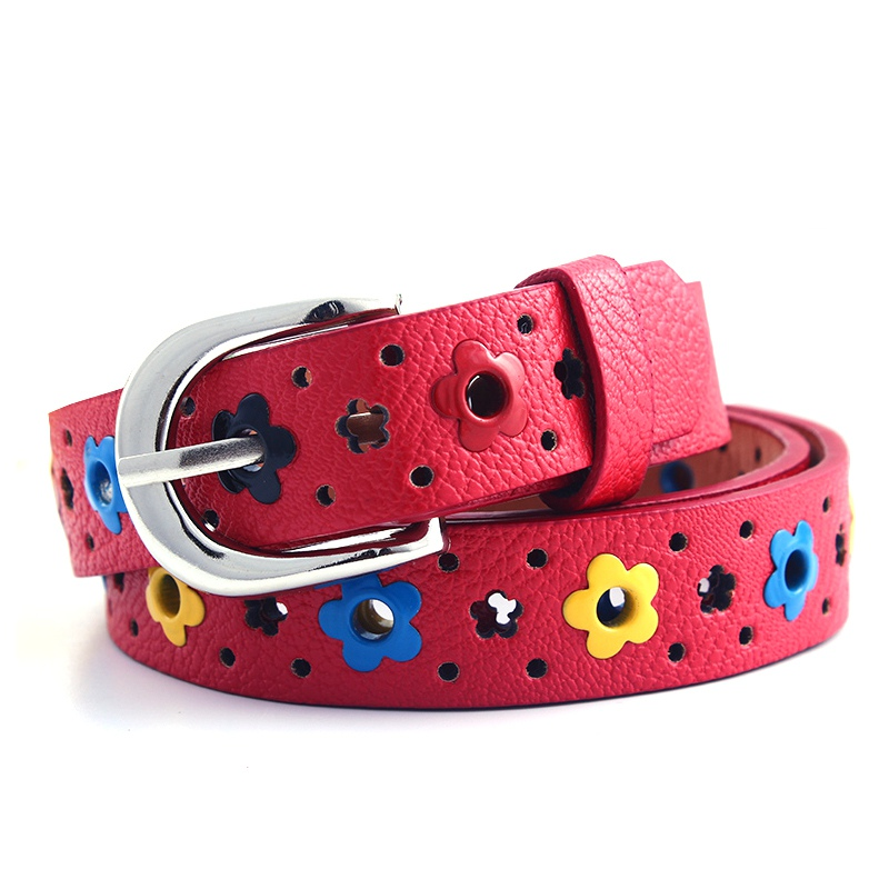 Cute Kids Children Boys Girls Belt Hollow Flower Waistband Faux Leather Belt Buckle Apparel Belts Accessories
