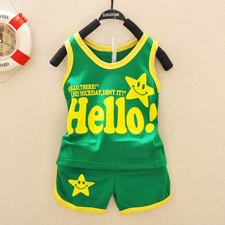 Summer casual baby letter boys babi children kids suit vest t-shirt tops+shorts clothing sets PLUS007 sun moon kids boys t shirt summer