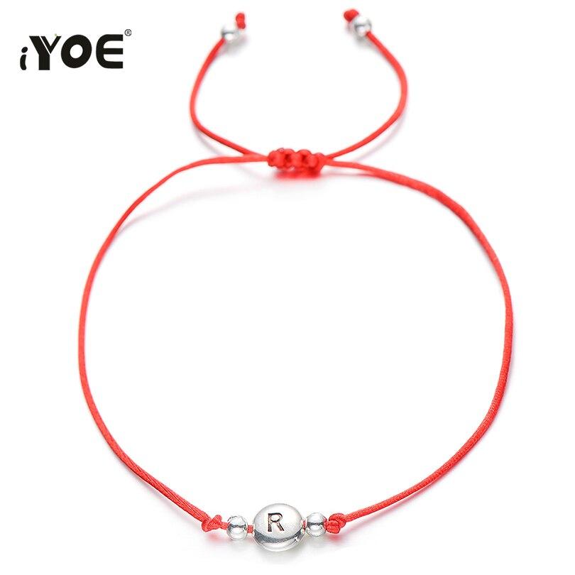 Винтажный стильный браслет IYOE с 26 буквами и бусинами для женщин и детей, веревочный браслет с красными надписями на удачу и именем, антиквар...