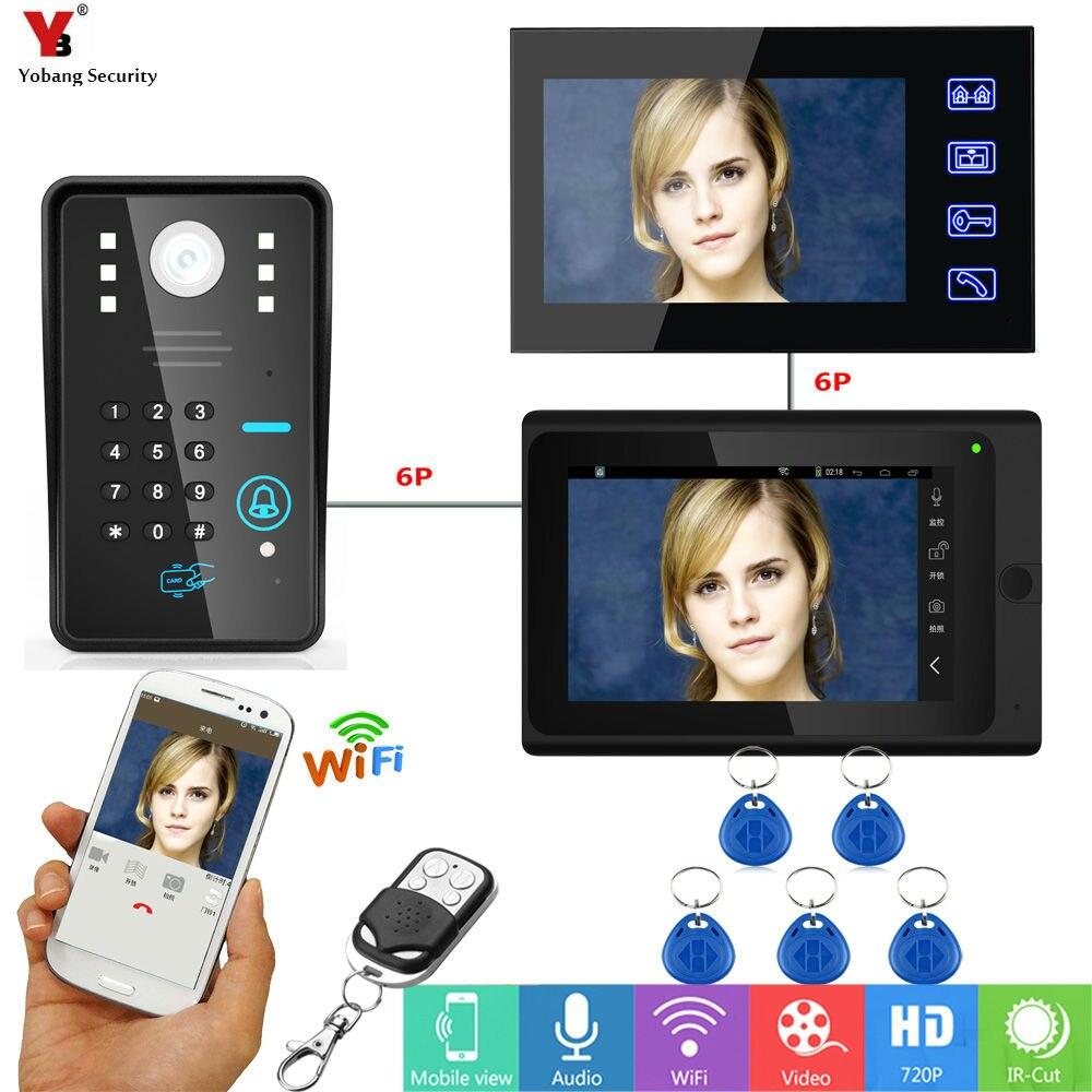 Yobang Security 7inch Video Record WIFI Video Doorbell With Indoor Monitor APP RFID&APP Control Door Phone Door Camera