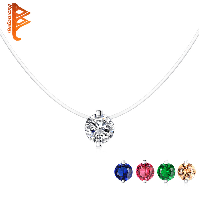 BELAWANG Pure 925 Sterling Silver Necklace Female Crystal Ball Pendant Necklace