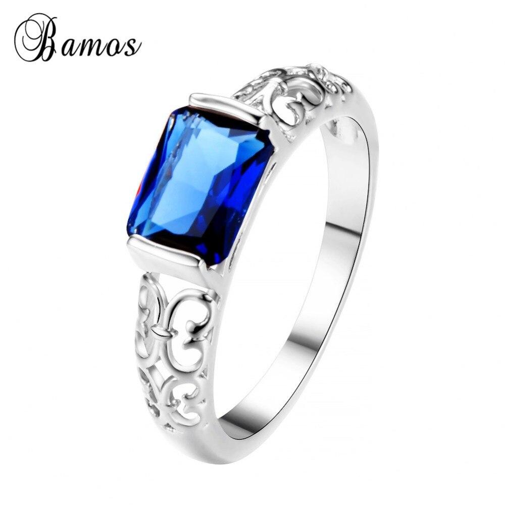Бамос полые бабочка Promise Ring Принцесса Cut Цирконий кольцо из белого золота Заполненные Свадебные Кольца для Для женщин Модные украшения