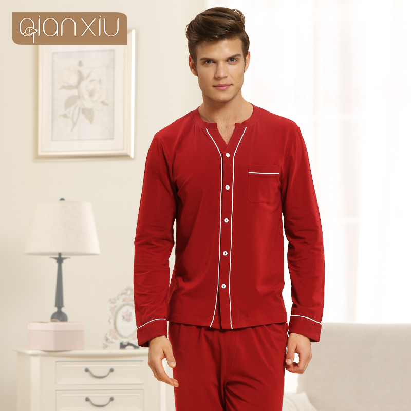 Suit Sleepwear Pants Pajama-Sets Couples Male Cotton V-Neck Red Modal Shirt Collar Top-Quality