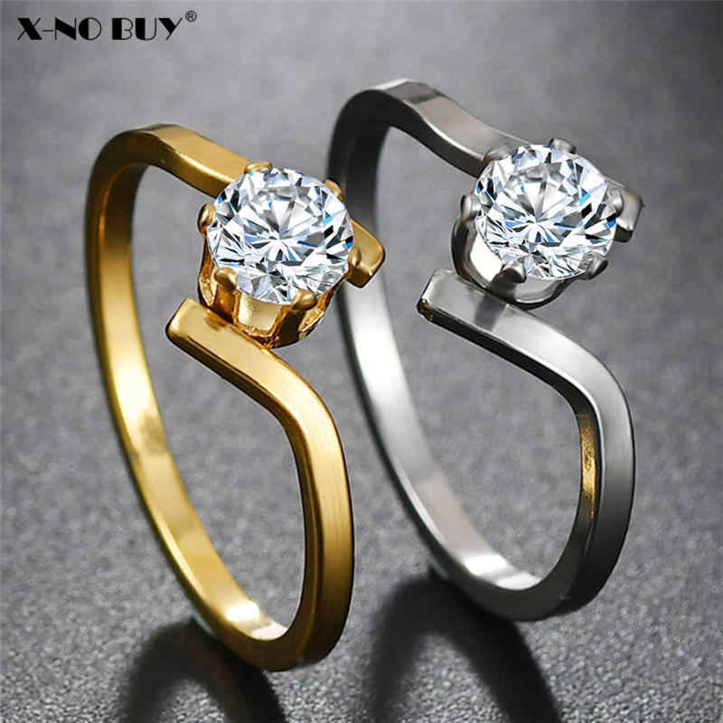 ใหม่ Silver Gold แหวนไทเทเนียมสแตนเลสผู้หญิงเครื่องประดับ CZ Cubic Zircon แหวนสำหรับหญิง PARTY งานแต่งงานแหวน
