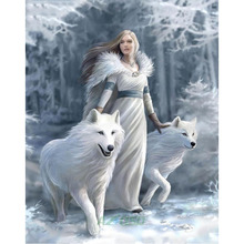 5D DIY diamond painting girl and animal wolf snow field full drill square round diamond embroidery cross stitch mosaic picture цена