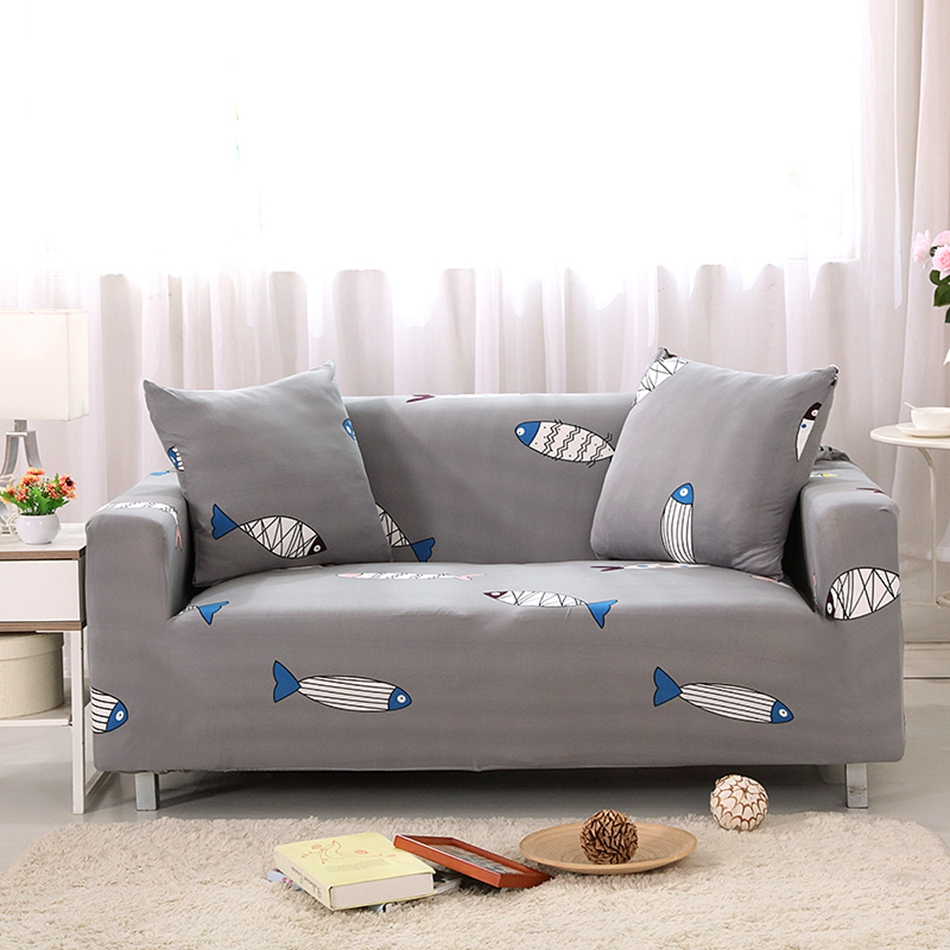 Grey Fish Print Stretch Sofa Cover For Living Room,polyester Universal Couch  Sofa Cover,multi Size Corner Sofa Slipcovers