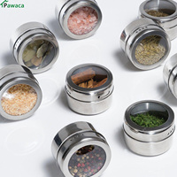12pcs Set Clear Lid Magnetic Spice Tin Jar Stainless Steel Spice Sauce Storage Container Jars Kitchen