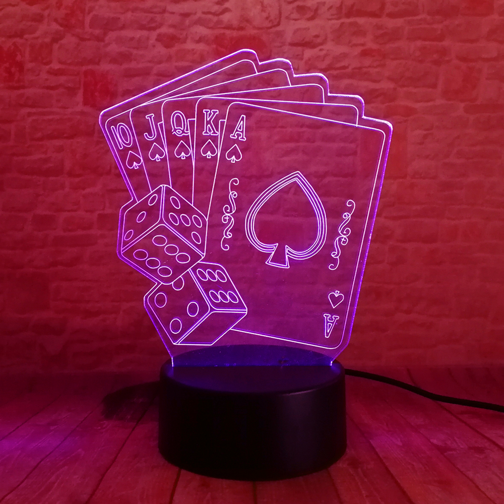 New Texas Hold EM zar Poker oyunları oynayır 7 rəngli qaralma - Gecə işığı - Fotoqrafiya 3
