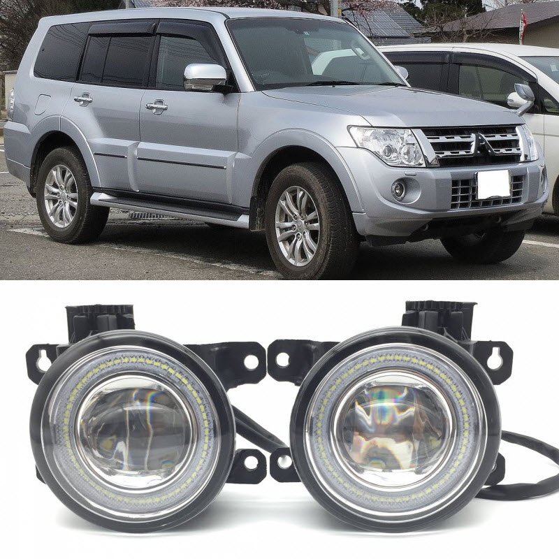 For Mitsubishi Pajero IV Montero Shogun 2 in 1 LED Angel Eyes DRL 3 Colors Daytime Running Lights Cut-Line Lens Fog Lights комплект проставок для лифт кузова pajero 2