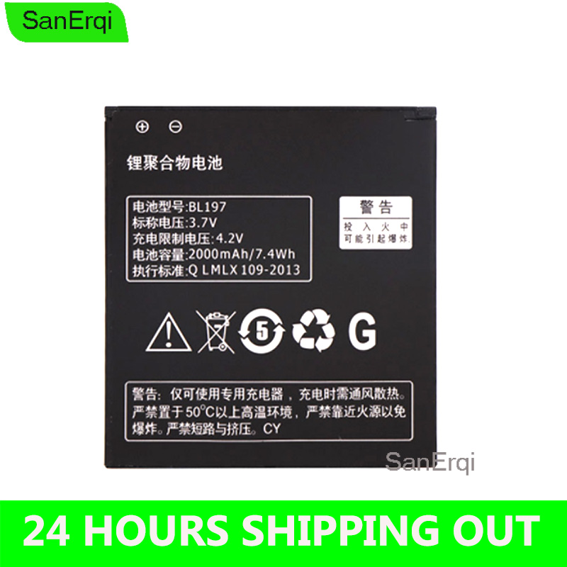 BL197 Battery For <font><b>Lenovo</b></font> S720 S720I <font><b>S750</b></font> A820 A798T S870E S868T S889 A800 BL-197 BL 197 2000mAh Moible Phone Replacement image