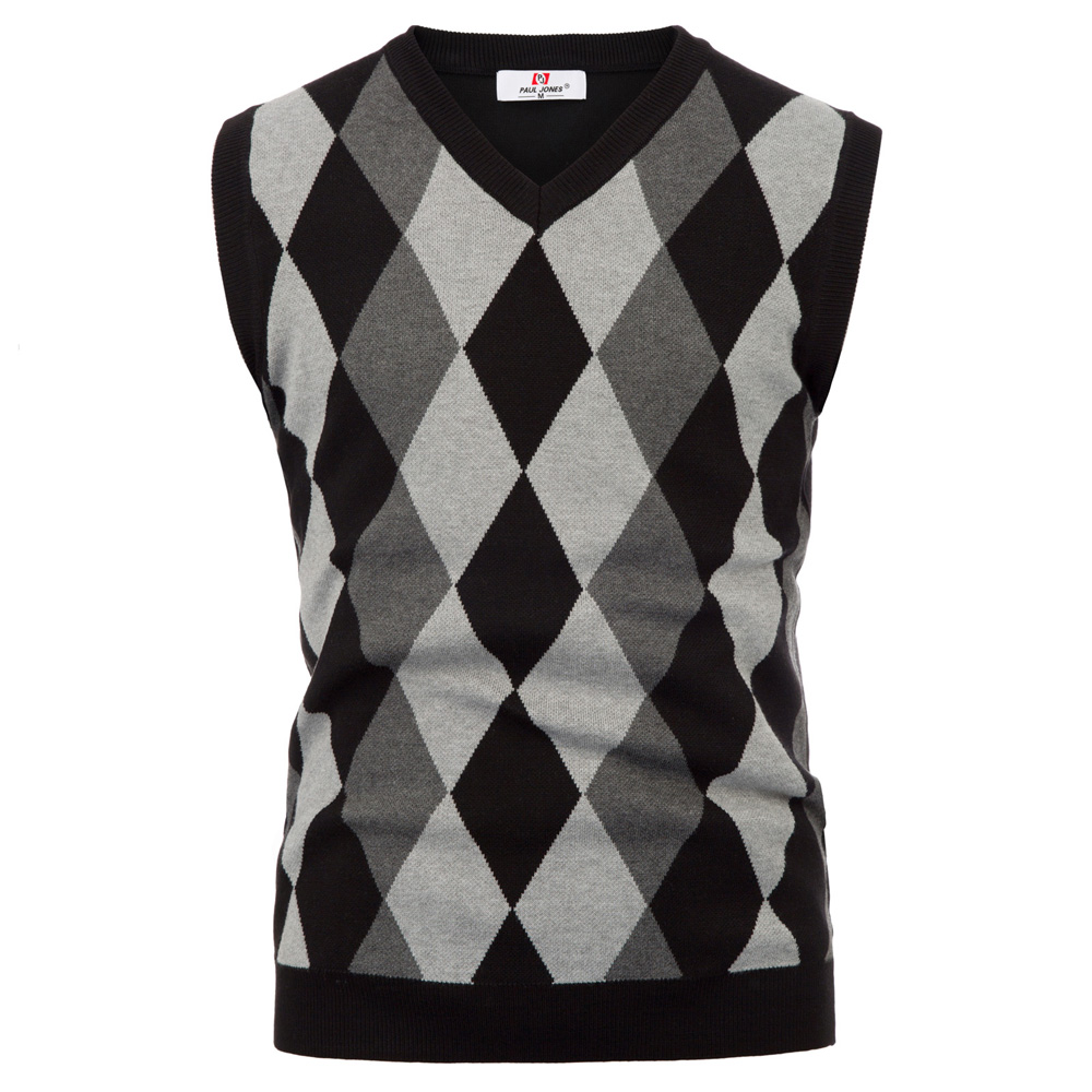 Mens Knitted Tank Top Argyle Sleeveless Jumper Golf Sweater Vest V-Neck Pullover gown