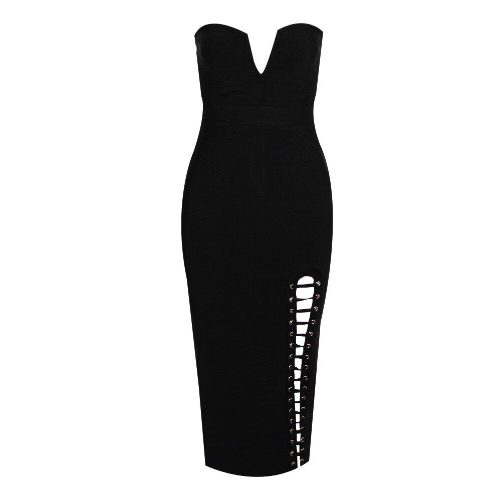 V D0218 Split Sexy Ausschnitt Frauen Kleid WD9IE2YH