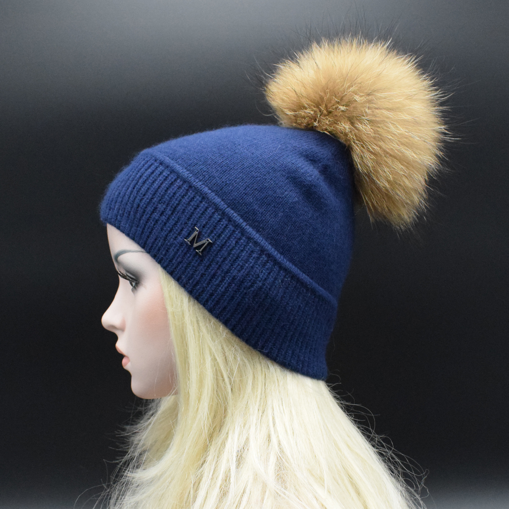 2017 New Solid Wool Winter Fur hat women Skullies Beanies high quality Knitted cap Real Raccoon Fur Pompom Hats Casual Cap wool skullies cap hat 10pcs lot 2289