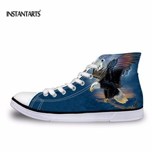 INSTANTARTS EUR Size 37-45 Men's Vulcanize Shoes Cool 3D Animal Eagle Owl Printed High Top Canvas Shoes Classic Men Flat Sneaker