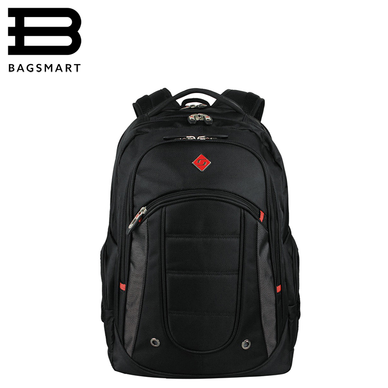BAGSMART New Unique High Quality Waterproof Nylon 17 Inch Laptop Backpack Men Women Computer Notebook Bag Black Large Laptop Bag