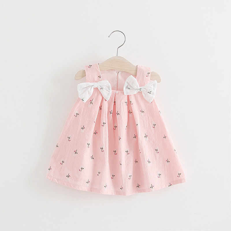 Summer Newborn Baby Girl Dress Sleeveless Print Bow Infantile Baby Dress Birthday Party Princess Dress Girls Clothes