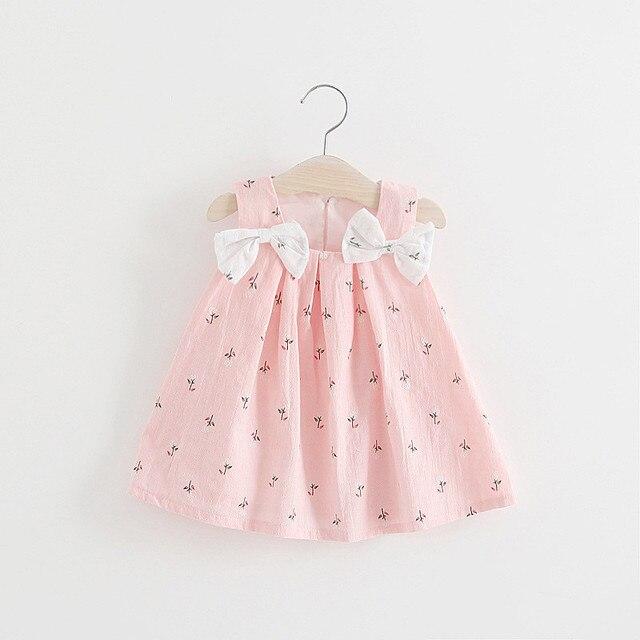 BNWIGE 0-24 M מזדמן קיץ תינוקת שמלת כותנה הדפס פרחוני קשת תינוקת שמלות פעוט תינוקת בגדים