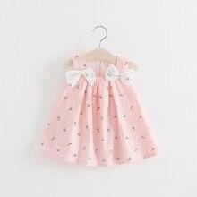 Summer Newborn Baby Girl Dress Sleeveless Print Bow Infantil