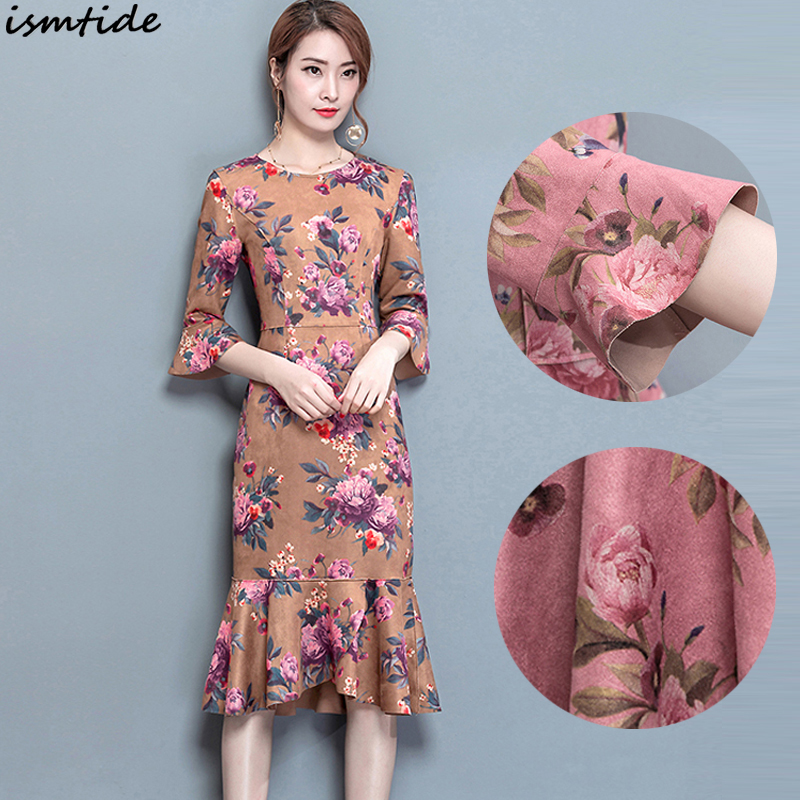 Women Faux Suede Dress 2018 Spring Fashion Quarter Butterfly Sleeve Dress  Tunic Ruffled Hem Party Dresses Ladies Vestidos Female-in Dresses from  Women s ... c7df9a121ba0