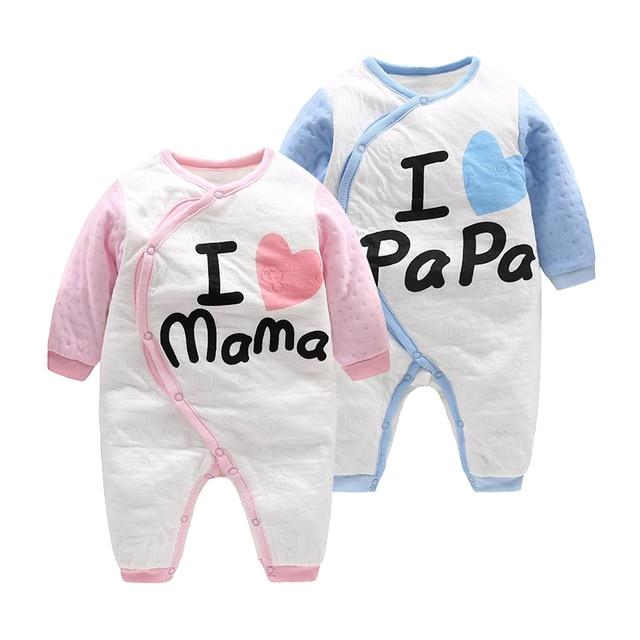 2017 новых прибыть orangemom Воздушный Слой хлопка Новорожденных детская Одежда для Девочки одежда, я люблю папа мама ребенка комбинезон Infantil