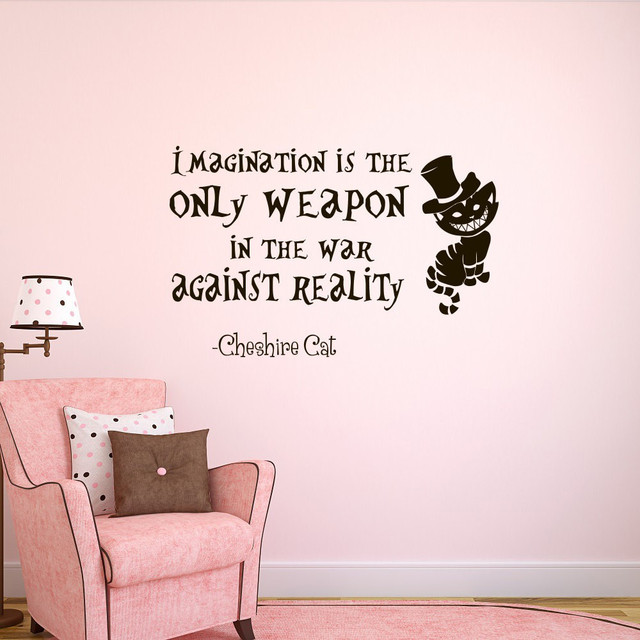 Wall Decal Alice In Wonderland Bedroom Decor Decals Imagination Is The Only  Weapon Quotes Special Quality