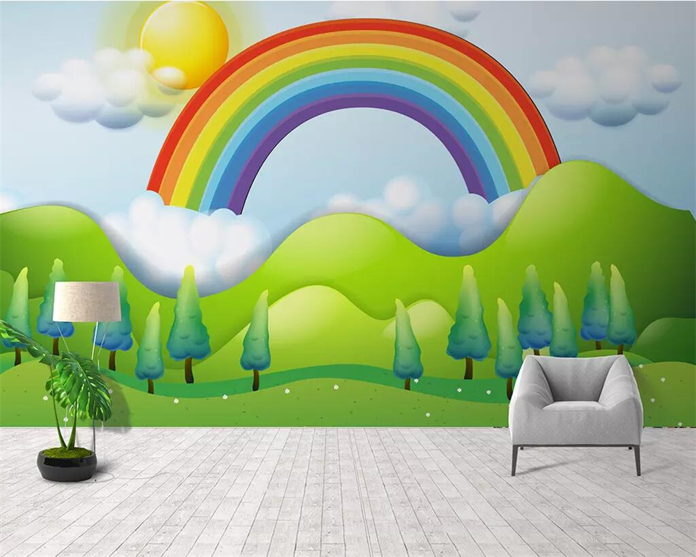 US $8 85 OFF Beibehang Mural Wallpaper Hand Painted Rain Rainbow Children S Room Background Wall Living Room Bedroom Decoration 3d