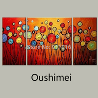 Hand Painted Oil Painting On Canvas Modern Paintings Art For Living Room/Office Wall Decor Group Of Pictures Flowers Blue Craft