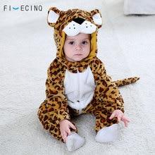 Купить с кэшбэком Animal Panther Cosplay Costume Baby Kigurumi Funny Cute Onesie 1-3 Years Old Boy Girl Sleep Suit Warm Flannel Leopard Pajamas