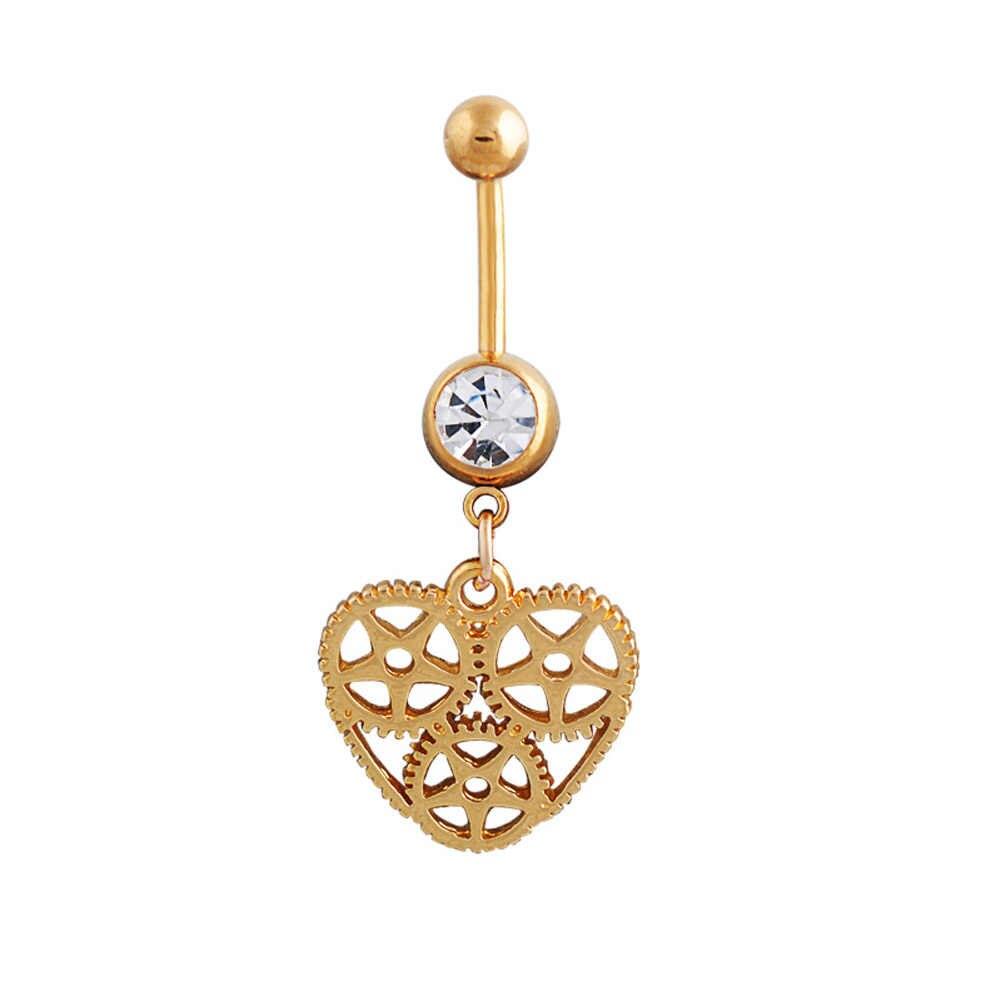 מגניב Pirsing Ombligo הילוכים מקוריים לב טבעת טבור סקסי טבור פירסינג אביזרי גביש