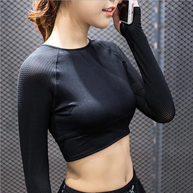 069aa87b41d Women Sports Mesh Breathable Long Sleeve Yoga Shirt Fitness Gym Running  Training Short Style Undershirt Crop Tops