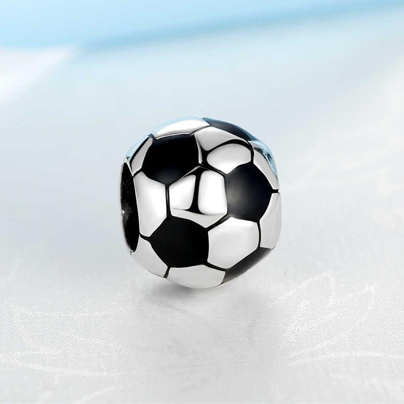 Auténtico 100% Original cuenta en plata esterlina 925 encanto balón de fútbol encantos de fútbol ajuste Pandora pulseras mujeres DIY joyería