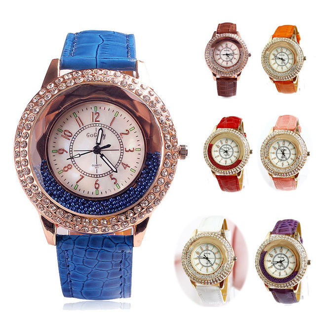 Relogio Feminino 2015 New Trendy Style Rhinestone Watches Women Dress Quartz Watch Casual Leather Wristwatches Reloj Mujer